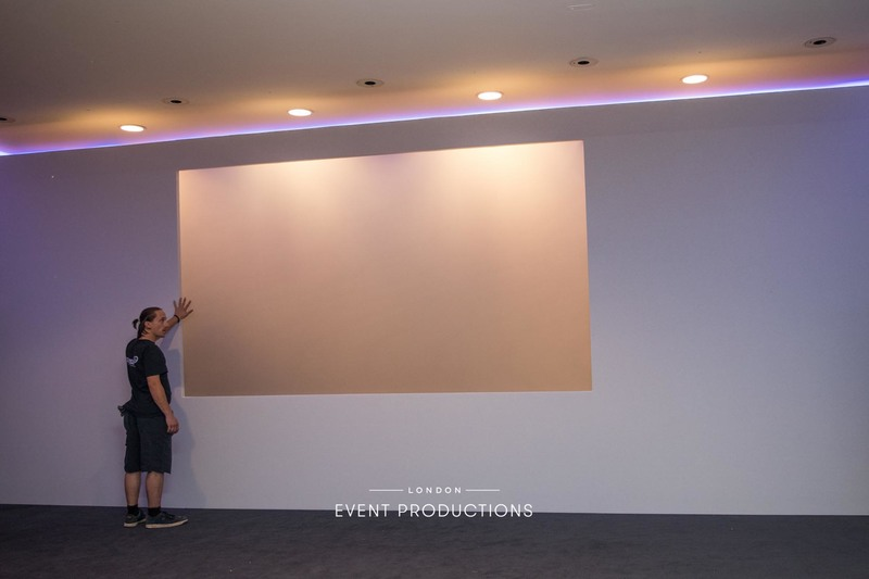 London Event Productions City of London conference production management white installation for a leading risk management, insurance brokerage and advisory company